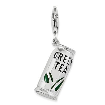 Sterling Silver Enameled Green Tea Beverage w/Lobster Clasp Charm
