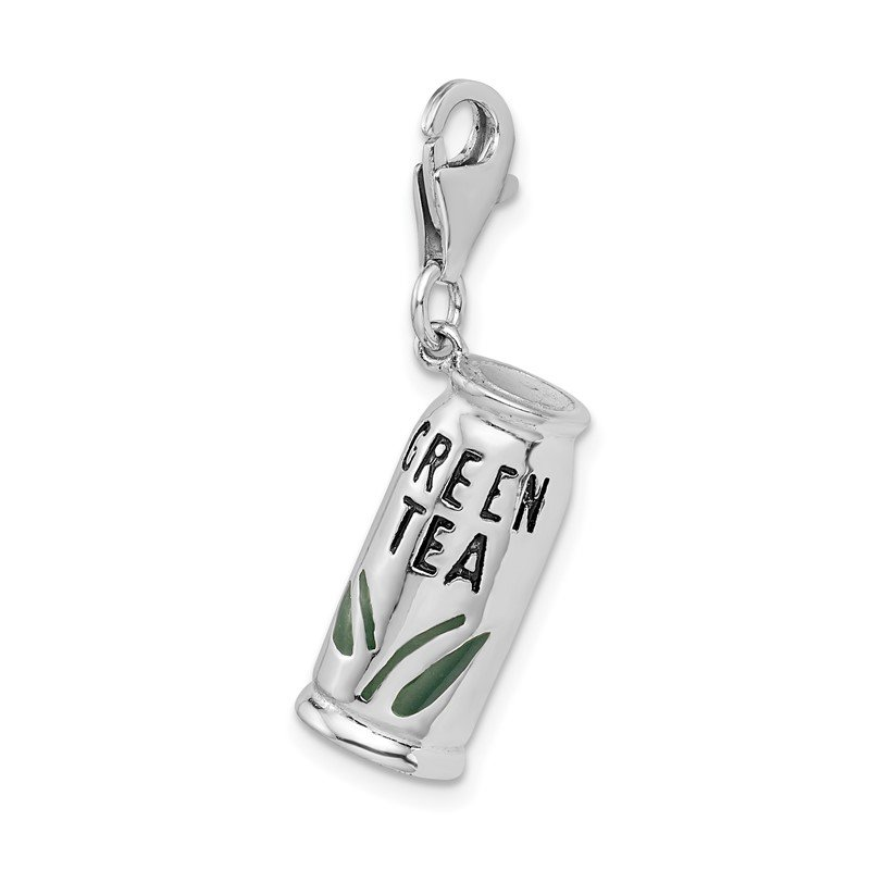 Quality Gold Sterling Silver Amore La Vita Rhod-pl Enameled Green Tea Beverage Charm