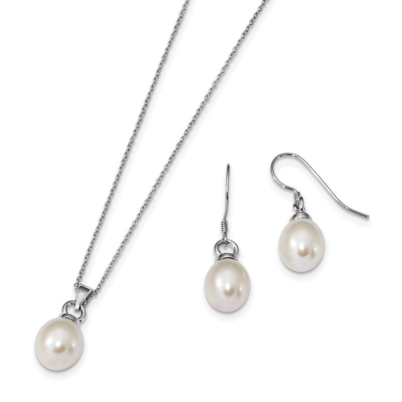 Quality Gold Sterling Silver Rhodium-plated 10-11mm FWC Pearl Earring/Necklace Set