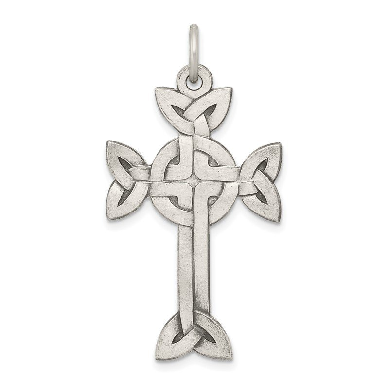 Quality Gold Sterling Silver Antiqued, Textured and Brushed Celtic Cross Pendant