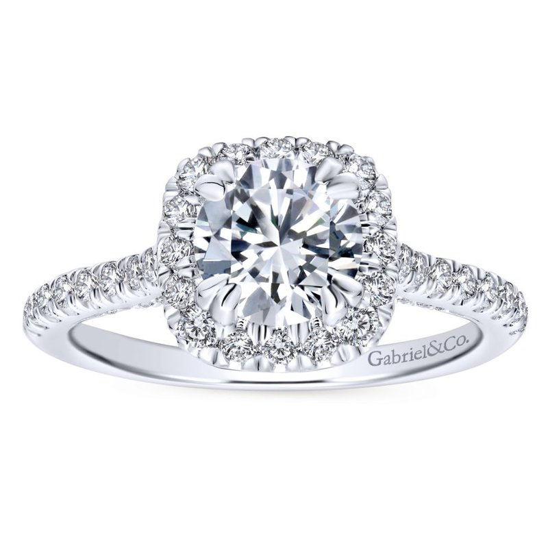 Gabriel Bridal Top Picks 14K White Gold Round Halo Diamond Engagement Ring