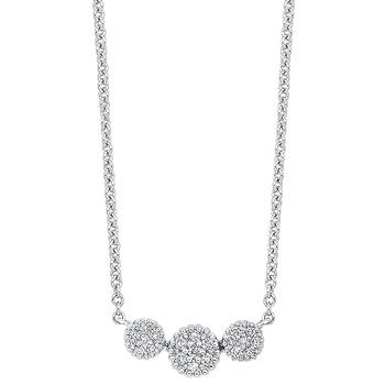 Diamond Triple Halo Cluster Pendant Necklace in 14k White Gold (1/10 ctw)