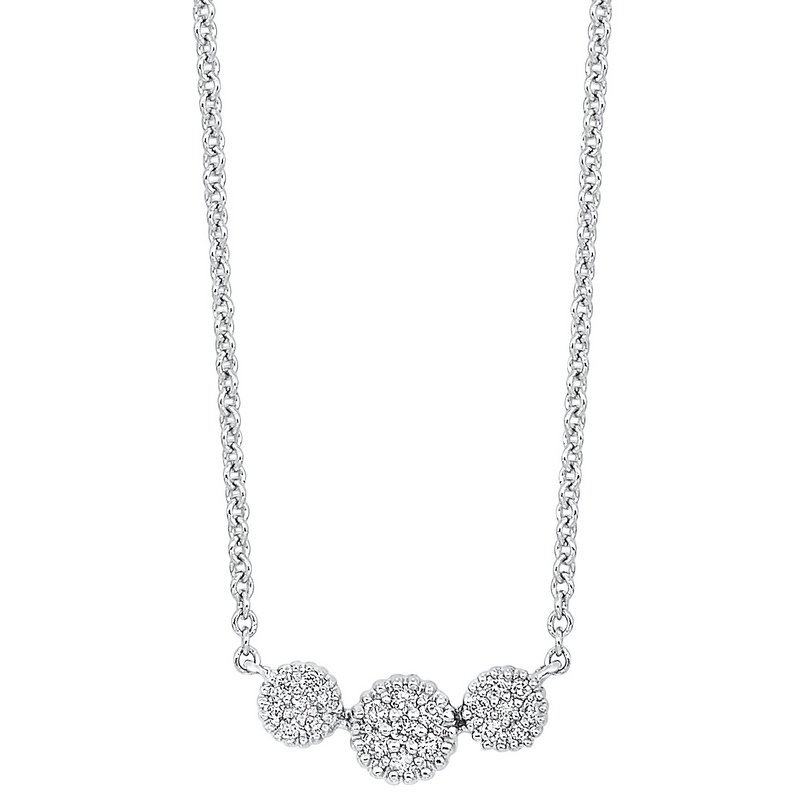 Gems One Diamond Triple Halo Cluster Pendant Necklace in 14k White Gold (1/10 ctw)