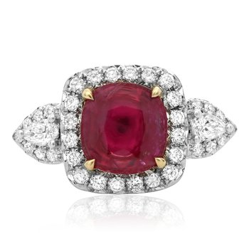 Ruby & Diamond Pear-shaped Side Stone Ring