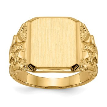 14k 14.0 x 13.0mm Open Back Men's Signet Ring