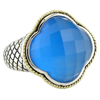 18kt and Sterling Silver Blue Agate Clover Large Ring