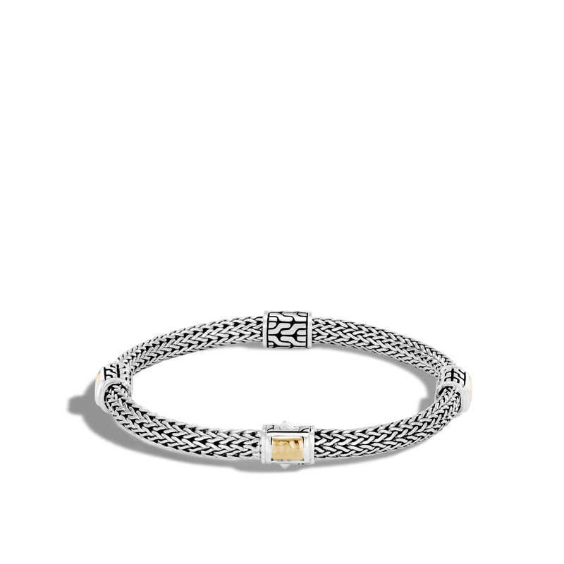 JOHN HARDY Classic Chain 5MM Hammered Station Bracelet, Silver, 18K