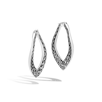 Classic Chain Wave Large Hoop Earring in Silver