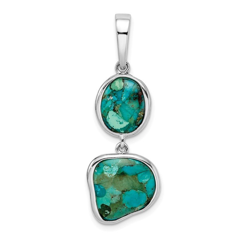 Quality Gold Sterling Silver Rhodium-plated w/Reconstituted Turquoise Pendant