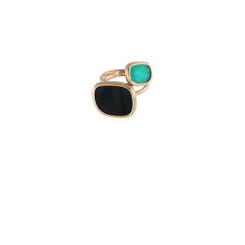 18KT GOLD RING WITH BLACK JADE AND GREEN AGATE