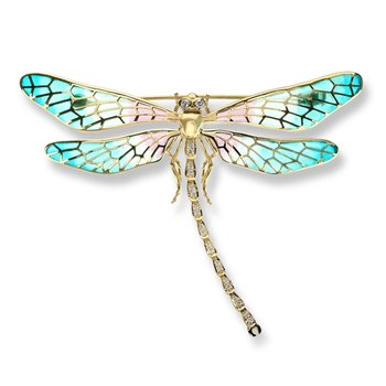 Turquoise Dragonfly Brooch.18K -Diamonds - Plique-a-Jour