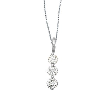 14k White Gold 3 Stone Diamond Drop Pendant