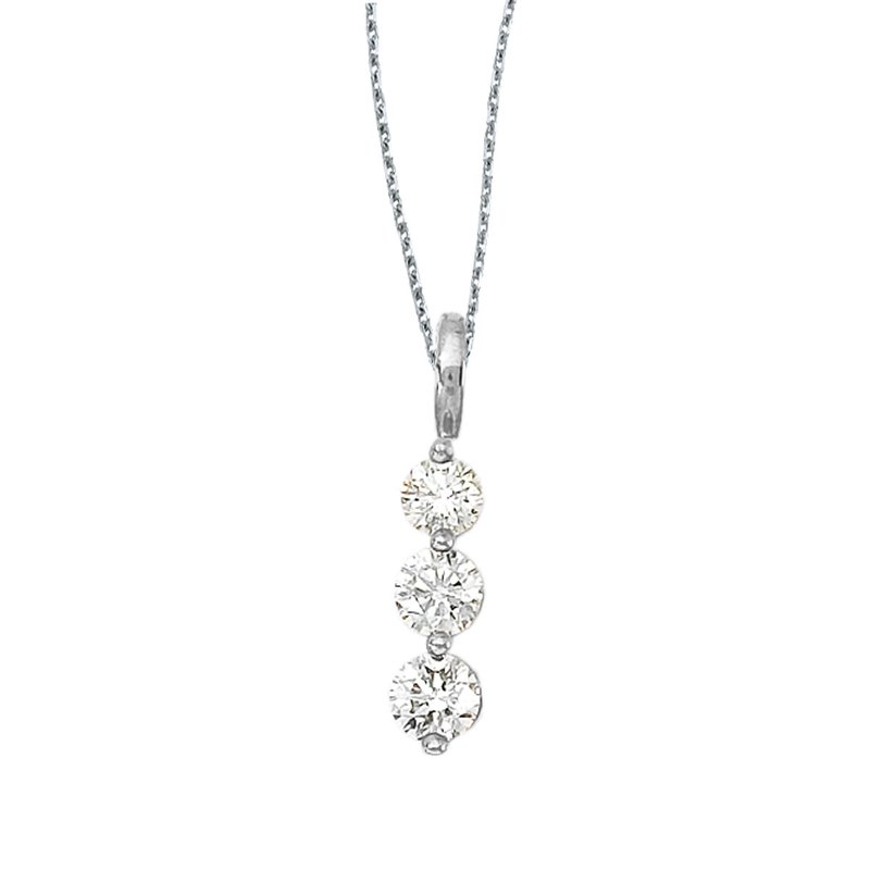 Color Merchants 14k White Gold 3 Stone Diamond Drop Pendant