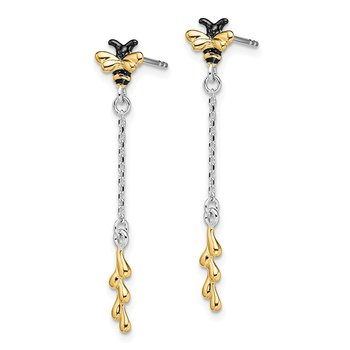 Sterling Silver RH-plated Gold-tone Enamel Bee Dangle Earrings