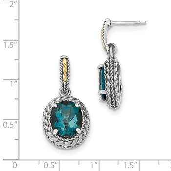 Sterling Silver w/14k London Blue Topaz Earrings