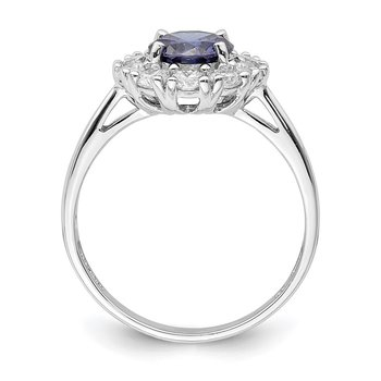 Sterling Silver Rhodium-plated Blue and White CZ Halo Ring