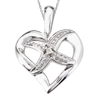 14K White Gold Diamond Fashion Heart Pendant