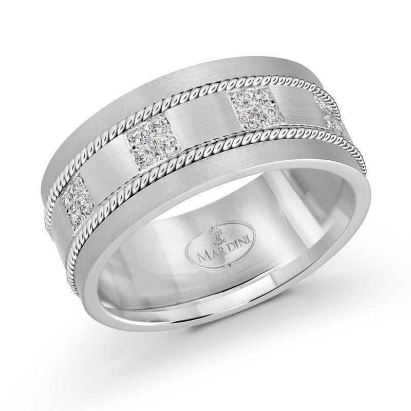 Mardini 10mm white gold brick motif band, embelished with 16X0.015CT diamonds