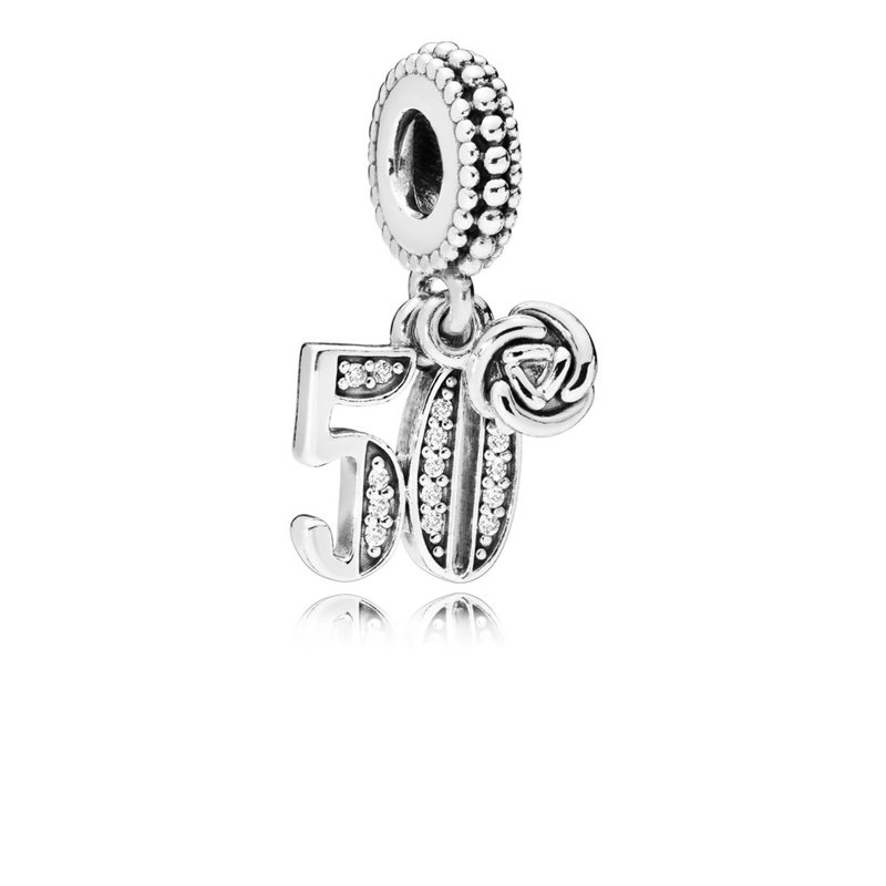 Pandora 50 Years Of Love Dangle Charm, Clear Cz