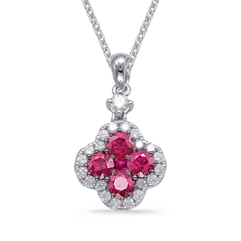 S. Kashi  & Sons White Gold Ruby & Diamond Pendant