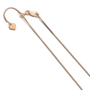 Leslie's Sterling Silver Rose Gold-plated Adjustable .95mm Box Chain