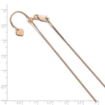 Leslie's Sterling Silver .95 mm Rose Gold-plated Adjustable Box Chain
