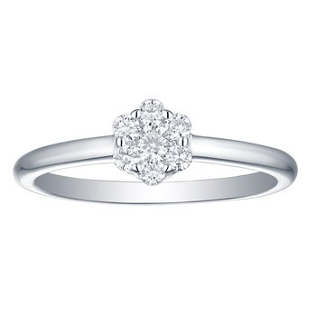 Smiling Rocks 0.27Ct G-H/VS1 Lab Grown Diamond Halo Cluster Engagement Ring