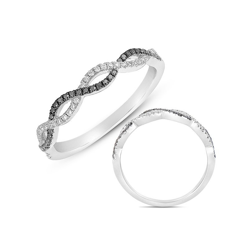 S. Kashi & Sons Bridal White Gold & Black Diamond Matching Band