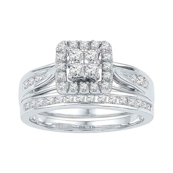 10kt White Gold Womens Diamond Square Cluster Bridal Wedding Engagement Ring Band Set 1/4 Cttw