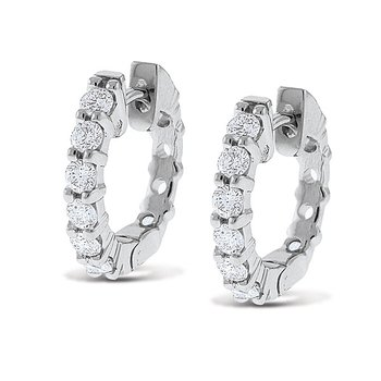 Diamond Mini Hoop Earrings in 14k White Gold with 12 Diamonds weighing .60ct tw.