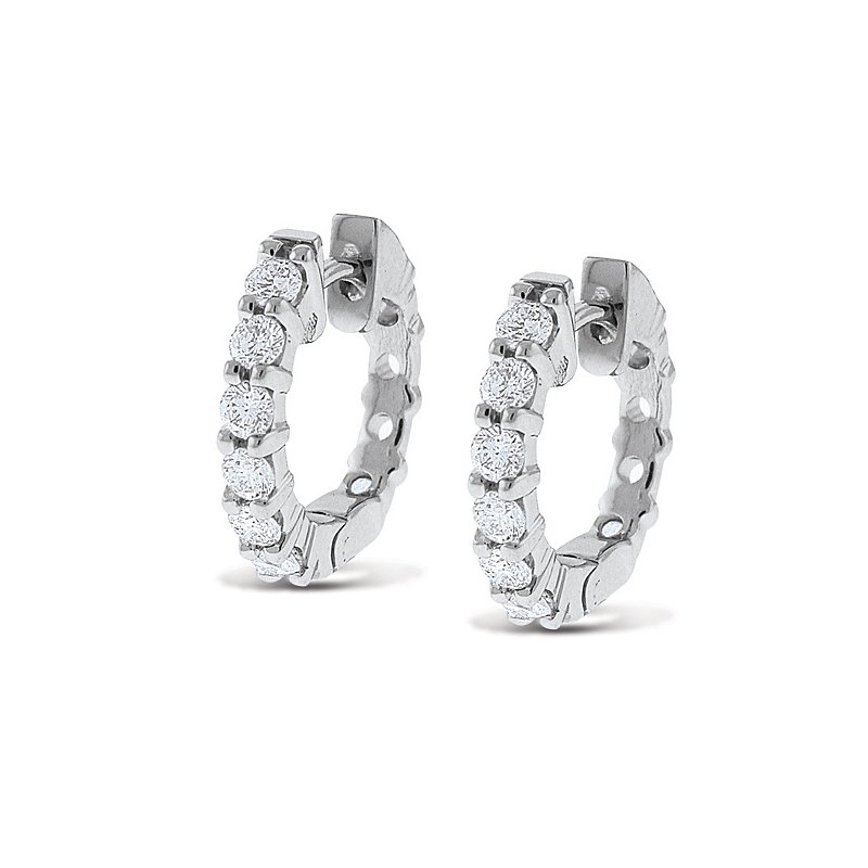 KC Designs Diamond Mini Hoop Earrings in 14k White Gold with 12 Diamonds weighing .60ct tw.