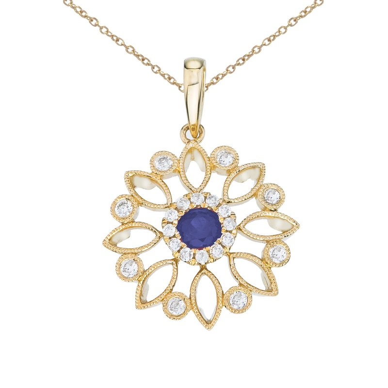 Color Merchants 14k Yellow Gold Floral Filigree Sapphire and Diamond Pendant