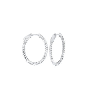 Delicate In-Out Diamond Hoop Earrings in 14K White Gold  (1 ct. tw.) SI3 - G/H