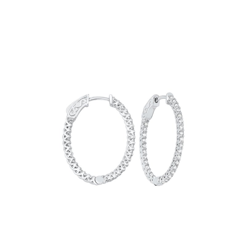 Calvin Broyles Delicate In-Out Diamond Hoop Earrings in 14K White Gold  (1 ct. tw.) SI3 - G/H