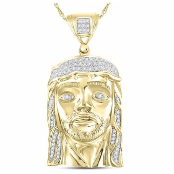 Sterling Silver Mens Round Diamond Jesus Face Christ Charm Pendant 1/4 Cttw