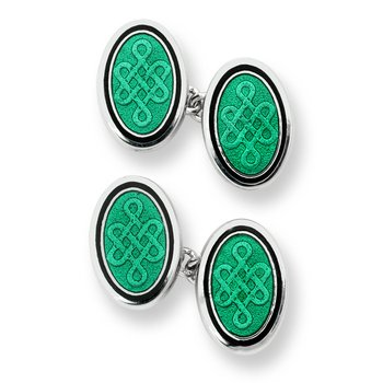 Green Oval Celtic Chain-link Cufflinks.Sterling Silver