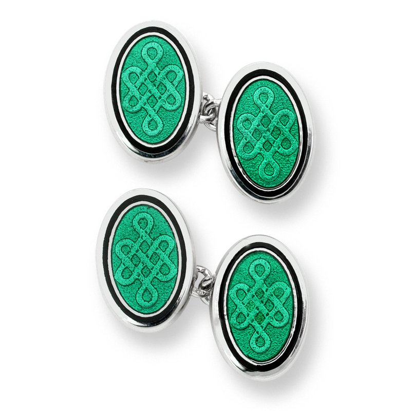 Nicole Barr Designs Green Oval Celtic Chain-link Cufflinks.Sterling Silver