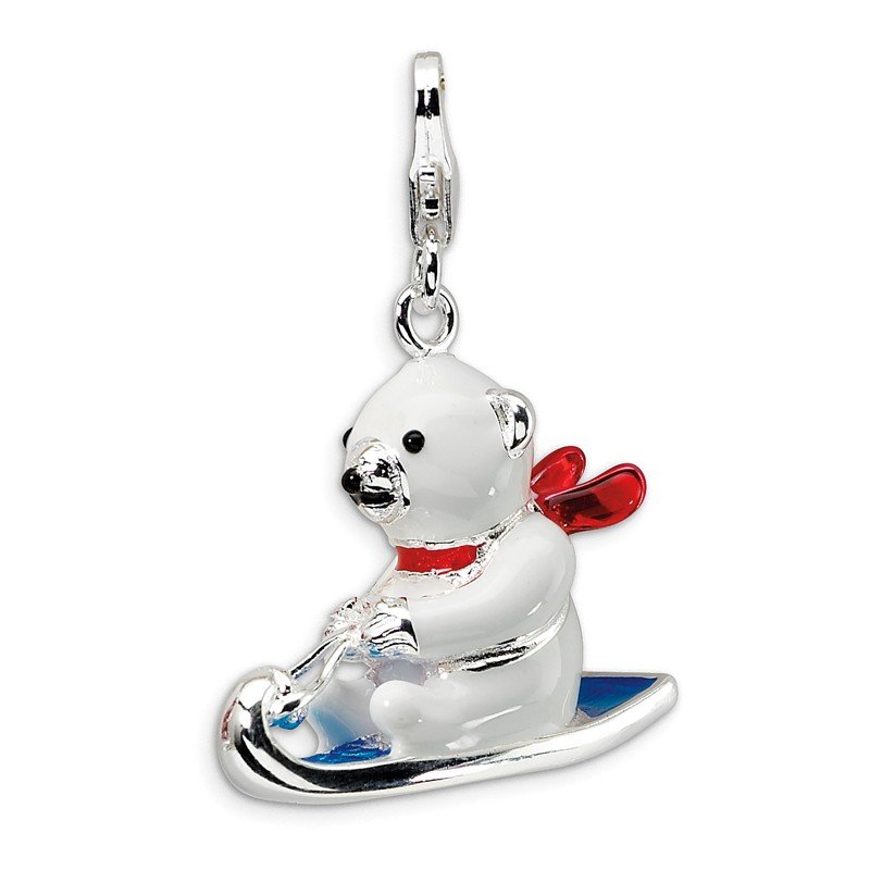 Quality Gold Sterling Silver 3-D Enameled Polar Bear on Sled w/Lobster Clasp Charm