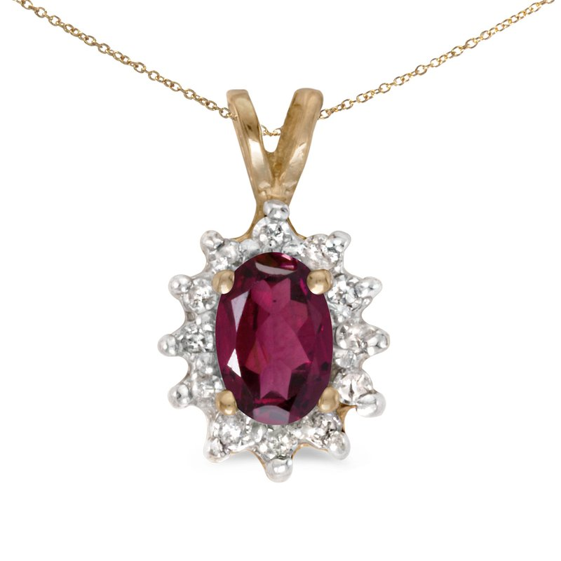Color Merchants 14k Yellow Gold Oval Rhodolite Garnet And Diamond Pendant