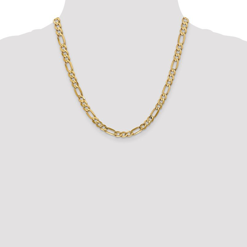 Quality Gold 14k 6mm Concave Open Figaro Chain
