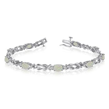 14k White Gold Natural Opal And Diamond Tennis Bracelet