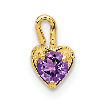 14ky February Synthetic Birthstone Heart Charm