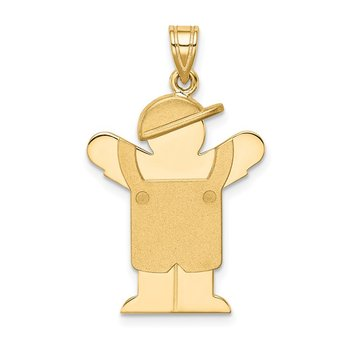 14k Solid Engravable Boy in Overalls with Hat on Left Charm