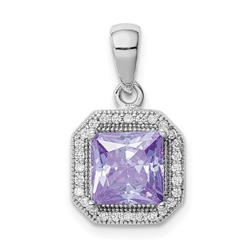 Sterling Silver Rhodium Plated Clear CZ and Square Lt Purple CZ Pendant