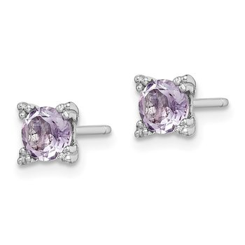 Sterling Silver Rhodium-plated Round 5mm Amethyst Post Earrings