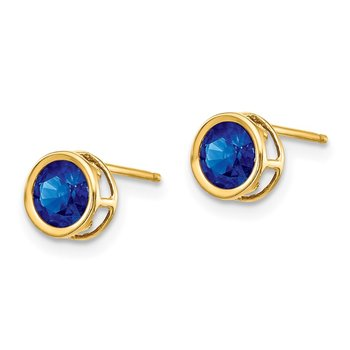14k 5mm Bezel Sapphire Stud Earrings