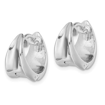 Sterling Silver Rhodium-plated Hinged Hoop Earrings