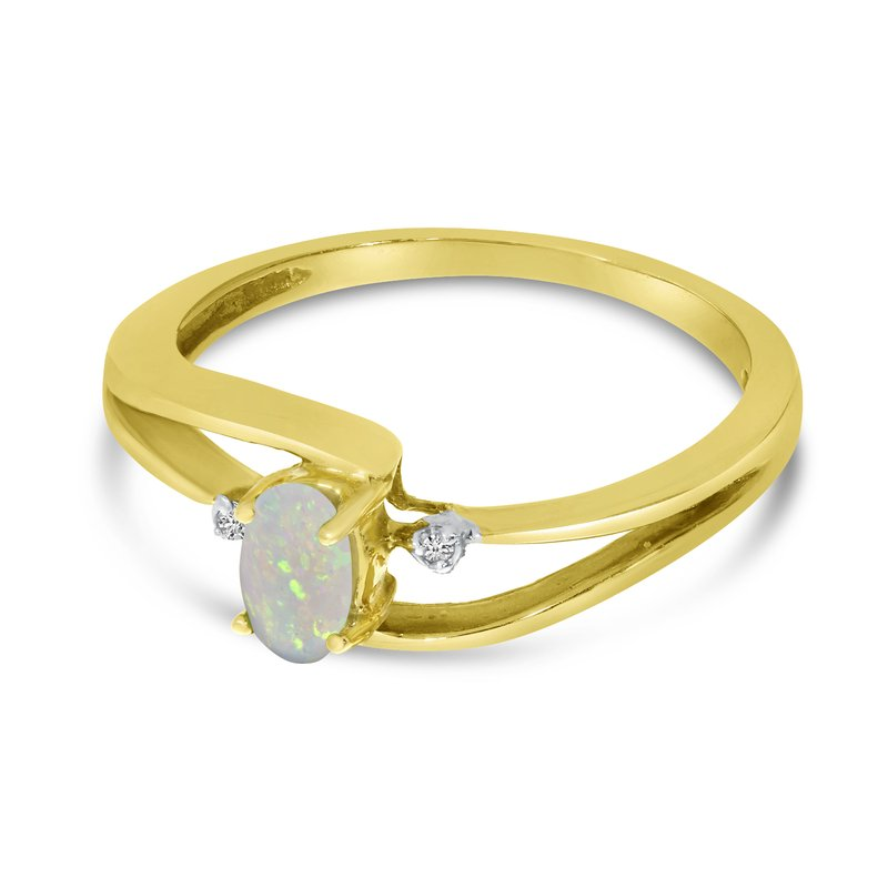 Color Merchants 14k Yellow Gold Oval Opal And Diamond Wave Ring