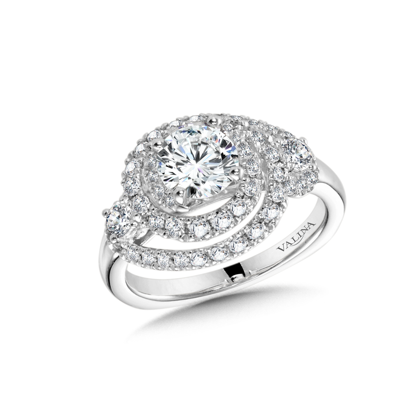 Valina Diamond Engagement Ring Mounting in 14K White Gold (1.02 ct. tw.)