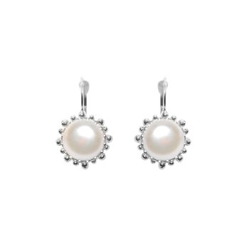 Dew Drop Snowflake Earrings - Water Pearl & Silver